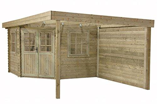 Gartenhaus / Blockhütte 480 x 240 cm Annebeth Flachdach Fonteyn unbehandet
