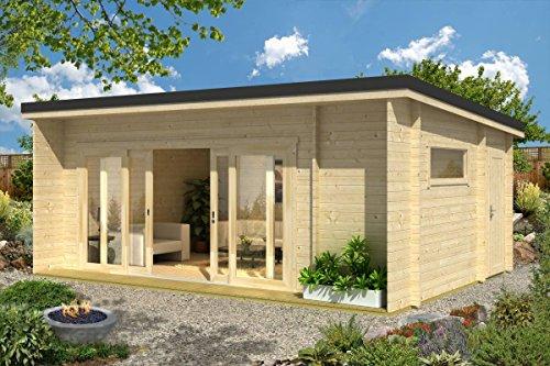Gartenhaus G25 inkl. Fußboden – 44 mm Blockbohlenhaus, Grundfläche: 23,70 m², Pultdach