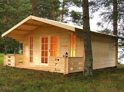 Gartenhaus MÜNCHEN Blockhaus 500x450cm + 150cm Veranda Gartenlaube Holzhaus Holzlaube